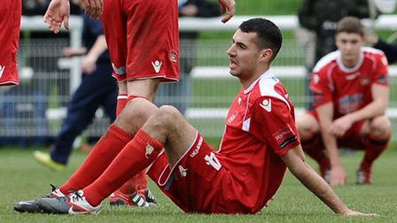 Needham Market's Bradley Barber after his side's Ryman League Division One North play-off final defe