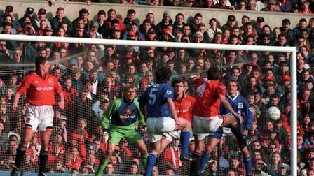 Action from the infamous game, for Ipswich Fans, at Old Trafford