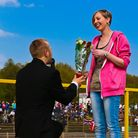Callum Williams proposes to Charlotte Jewell during the interval. Picture: Steve Waller