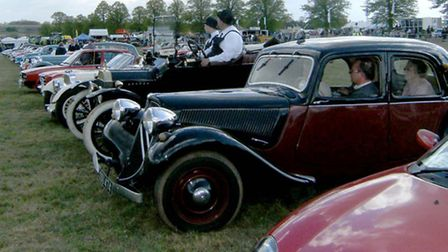Classic cars lined up at a previous event.