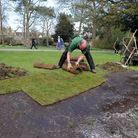 New turf is being laid in the Abbey Gardens in Bury after a grub infestation. Graham Maynard, garden