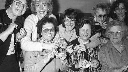 Sponsored Knit-In at Combs in April 1984