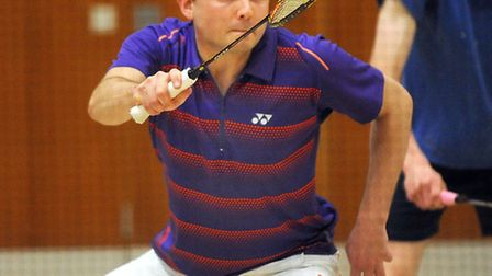 Ipswich and District Badminton League finals at Northgate Sports Centre. Pictured is Davis Poole.
