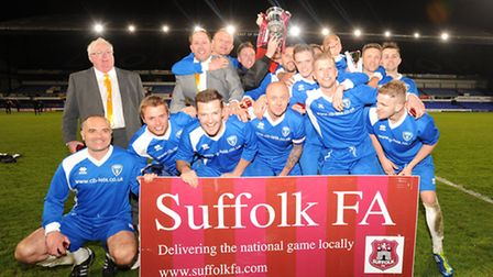 Oulton Broad celebrate after winning the Suffolk FA Junior Cup Final at Portman Road