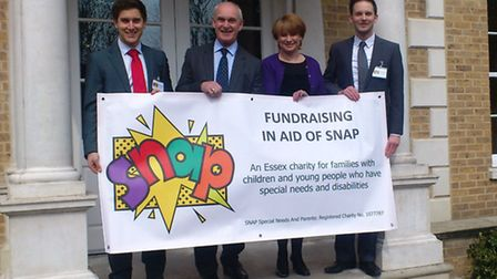 Representatives from Birketts LLP and Essex-based charity SNAP at the launch of this year's Race4Bus