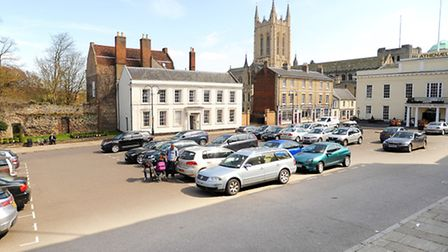 Vehicles parked on Angel Hill, Bury St Edmunds.
