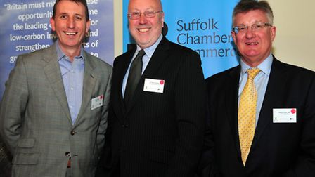 From left, Andy Wood, chairman of New Anglia LEP, Peter Funnell, president of Suffolk Chamber of Co