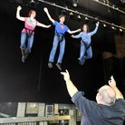 Digital trainee Max Geater gets a chance fly with Amanda Langley and Lesley Rawlinson from The Ipswi