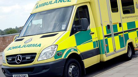Ambulance on fire in Witham