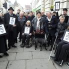 Death of a Town protestors gather outside Colchester Town Hall to protest about the traffic restrict