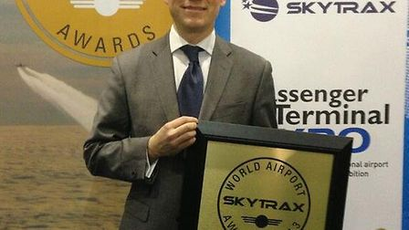 Stansted Airport communications director Will Parkes with the SKYTRAX best airport for low-cost airl