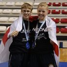 Joe Le Maire, left, and Hannah Turner celebrate with their medals in Istanbul