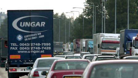 Traffic congestion on the A12 in Essex.