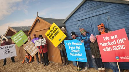 Angry beach hut owners gathered on Felixstowe's promenande to march against beach hut and chalet re