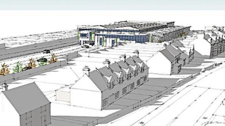 A computer-generated image of the proposed superstore development Albourne Property is proposing at