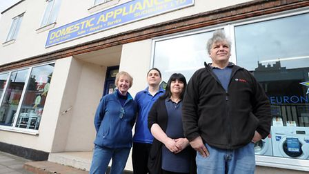 Domestic Appliances in Sudbury has been trading for 40 years. L-R: Jenny Tibbles, Lee Bacon, Karen B