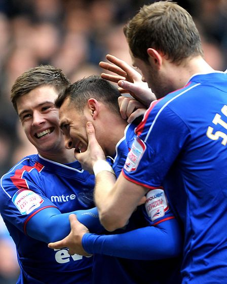 Celebrations after Michael Chopra scores for Ipswich against Blackpool.