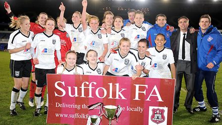 Ipswich Town celebrate their 5-1 victory over Lowestoft Town in the Suffolk FA Women's Cup final