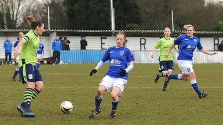 Ipswich Town Women (blue shirts) in action against Aston Villa in the Women's FA Cup earlier this se