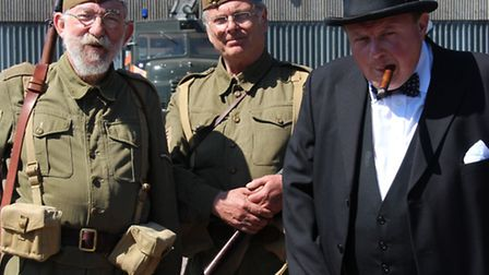 Actors playing the roles of Second World War soldiers and Winston Churchill