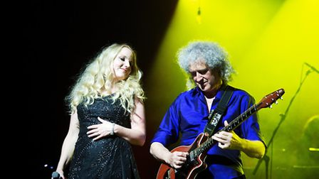 Kerry Ellis with Queen guitarist Brian May at the London Palladium. Picture: Francyne Carr