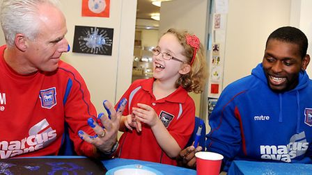 Ipswich Town players on their annual Christmas visit to the EACH charity. Left to right, Mick McCart