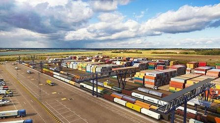A computer-generated image of the new northern rail terminal at the Port of Felixstowe.