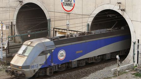 A train leavings the Channel Tunnel at Coquelles in France