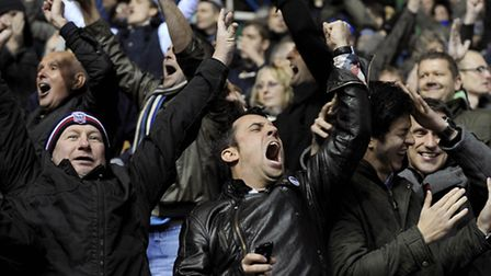 TURNING POINT: Ipswich Town fans show their relief at the final whistle after their side held on for