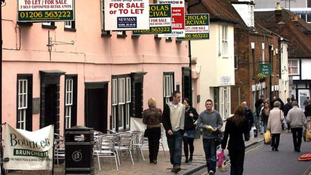 Shoppers in Sir Isaac's Walk, Colchester.