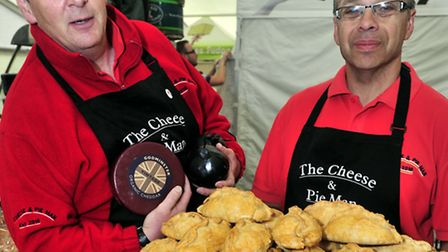 Suffolk Show 2013 Day one Local exhibitors inside the Food Hall Simon Morrison and Brian Lucas of