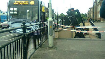 A Land Rover Discovery which crashed into a subway in Parkway, Chelmsford, this morning.