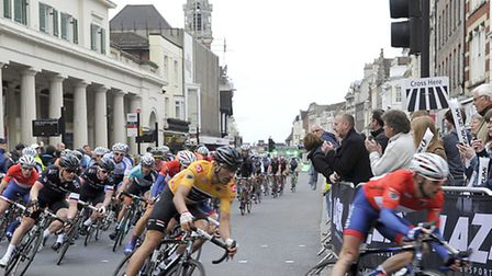Cyclists ride around Colchester Town Centre during the Pearl Izumi men's cycle race on Thursday, 30