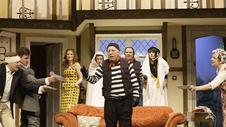 The cast of classic farce Noises Off