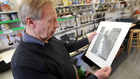 Artists prepare for the upcoming exhibition at Gainsborough Printworks in Sudbury. Geoff Winckles in