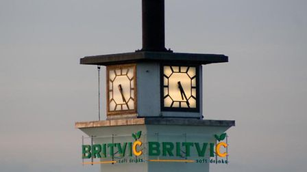 The clock tower at Britvic's Chelmsford plant