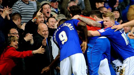 Fans celebrate Frank Nouble's goal against Crystal Palace