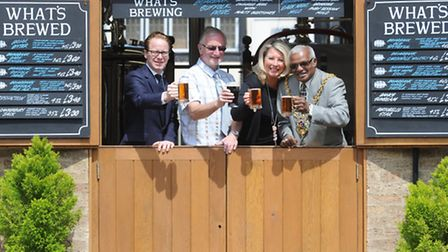 Official opening of the Briarbank Brewery near Isaacs in Ipswich. L-R Ben Gummer MP, Aidan Coughla