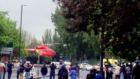 The scene in Woolwich, where a soldier was killed. Photo credit: @Yusuf_Kayalar/PA Wire