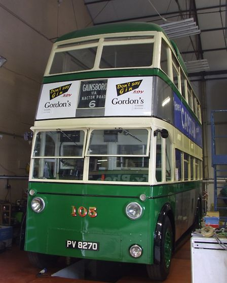 The restored Trolleybus 105 at Ipswich Transport Museum.
