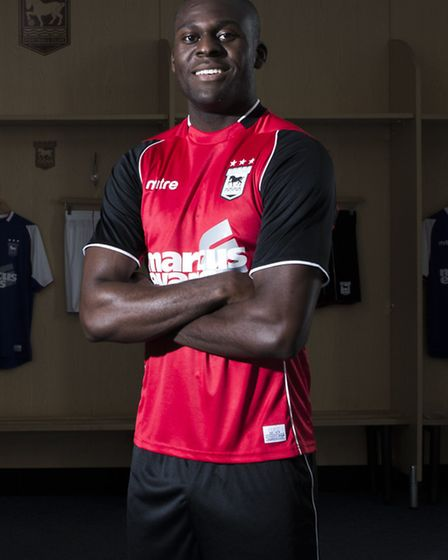 Frank Nouble in the away shirt