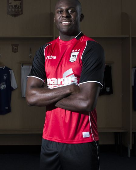 Ipswich Town's away kit as modelled by Frank Nouble