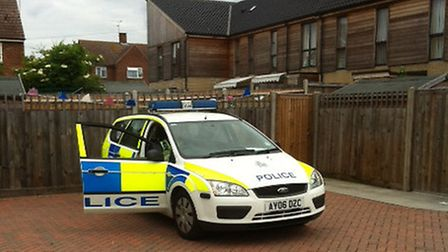 Police car in parking area behind houses in Kildare Avenue after Bidace Anthony's arrest