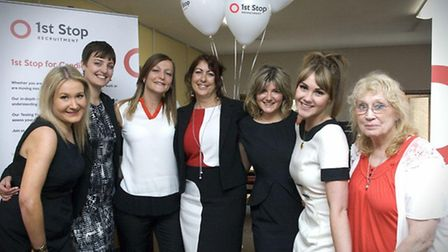 Director Lesley Whiting, centre, and the team at 1st Stop Recruitment celebrated the company's rebra