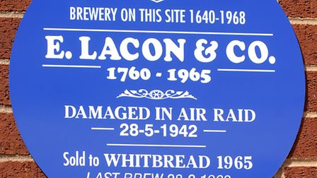 Blue plaque dedicated to the former Yarmouth brewery, Lacons.Photo: Nick ButcherCopy: Tony Carrol