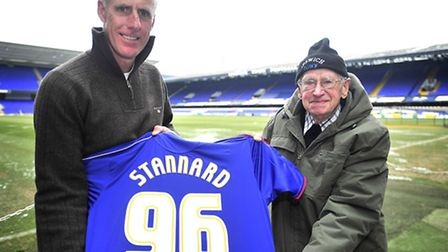 George Stannard, who still has an Ipswich Town season ticket at the age of 96, pictured with manager