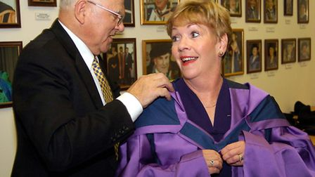Actress Helen Fraser before receiving her Honorary Doctorate of Civil Law at Suffolk College.
