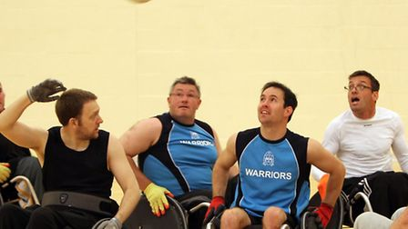 Woodbridge wheelchair rugby - Back pass from Martin Saych