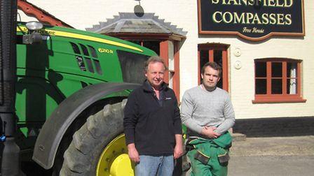 Farmer, and director of Stansfield Compasses, Phil Dennis, with son, Jonathan, following its opening