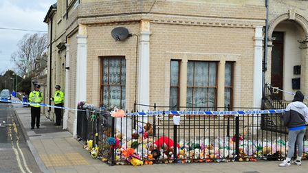 Hundreds of flowers and soft toys laid at the scene in Lowestoft